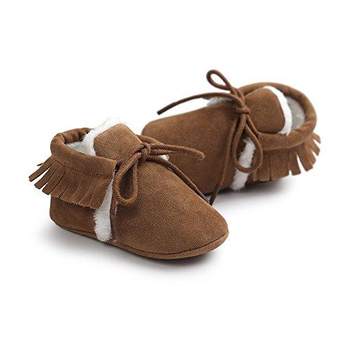 Bebé Borla de ante cordones botas zapatos de cuna gris gris Talla:0-6 meses marrón