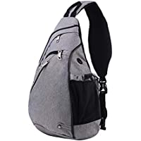 RYOMI Sling Bag Canvas Crossbody Backpack for Women and Men Waterproof Lightweight Shoulder Chest Outdoor Bag for Travel Hiking Sport