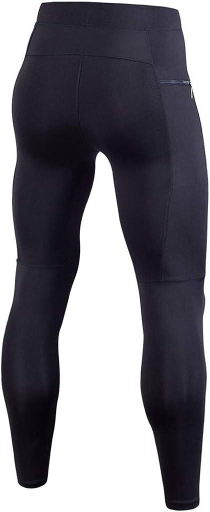 FRAUIT Fitness Hose Herren Strecken Leggings Tasche Tght Pants Einfarbig Training Hosen Bodybuilding Workout Kompressionshose Mit Rei/ßverschlusstasche Schnell Trocknende Elastizit/ät Sweatpants