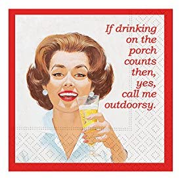 Design Design Call Me Outdoorsy Cocktail Napkins, 5 x 5 Inches, Multicolor