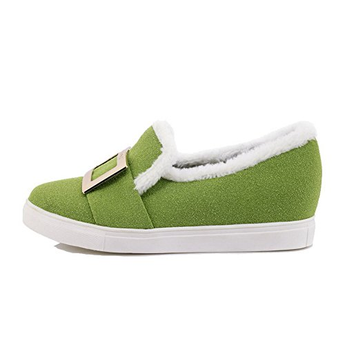 AmoonyFashion Womens Frosted Solid Pull-On Round-Toe Low-Heels Pumps-Shoes Green IvSoCBM3X
