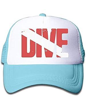 Scuba Dive Flag 1 On Boys and Girls Trucker Hat, Youth Toddler Mesh Hats Baseball Cap!