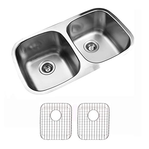 - Ukinox D345.50.50.9.G Modern Undermount Double Bowl Stainless Steel Kitchen Sink with Bottom Grids