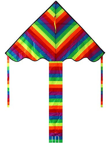 (HENGDA KITE Rainbow Delta Kite, 60-inch - Kites for Kids - Best Easy Flyer,Easy to Assemble, Launch and Fly)