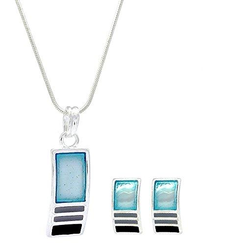 Turquoise/Gris &géométrique émail noir rectangulaire &Fashion Jewellery Parure boucles d'oreille clous