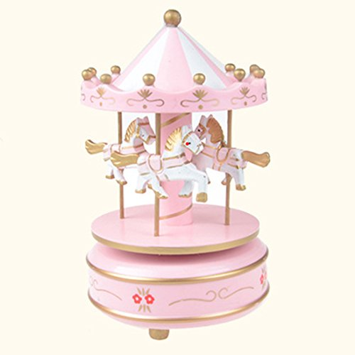 Amazon.com: Classical Wooden Merry-Go-Round Carousel Music Box Gift Toy Wedding Decoration,pink: Home & Kitchen