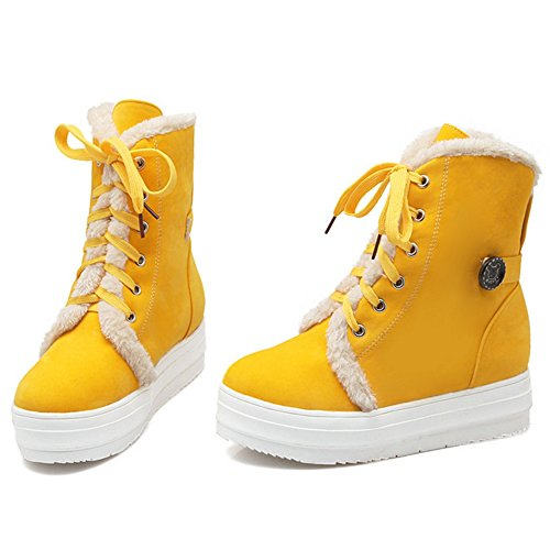 COOLCEPT Botas con Cordones para Mujer Yellow