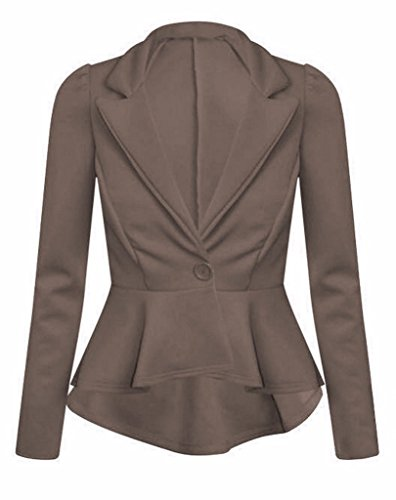 Vicmar's Women Plus Sizes Long Sleeve Waist Frill Button Blazer Peplum Jacket Mocha