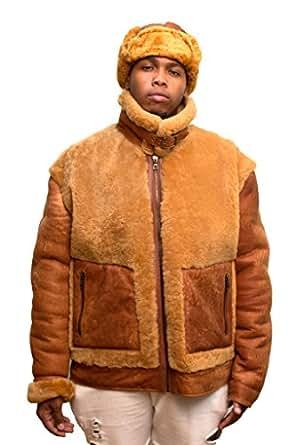 Jakewood Men's Winter Shearling Jacket Coat with Shearling