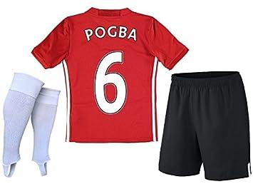 Manchester United Equipo de fútbol Uniforme-conjunto de réplicas Pogba (Camisa + Pantalones cortos + Calcetines): Amazon.es: Deportes y aire libre