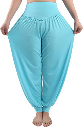 fitglam Women's Harem Pants Loose Casual Lounge Yoga Pants Plus Size Joggers Light Blue
