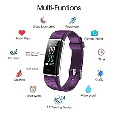 AGKupel Fitness Tracker Watch, Activity Tracker Watch Smart Bracelet with Heart Rate Blood Pressure Monitor, Touch Color Screen Pedometer Watch, IP67 Waterproof Smart Band
