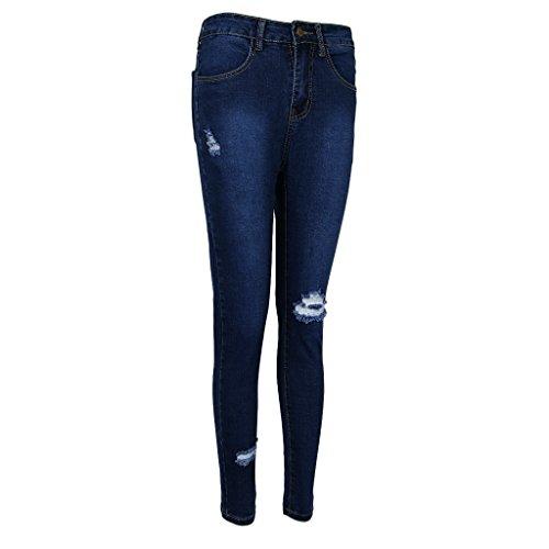 Femme Denim Homyl Haut Jeans Taille Bleu lastique Genous Dchires Mode 5qqtPAw6