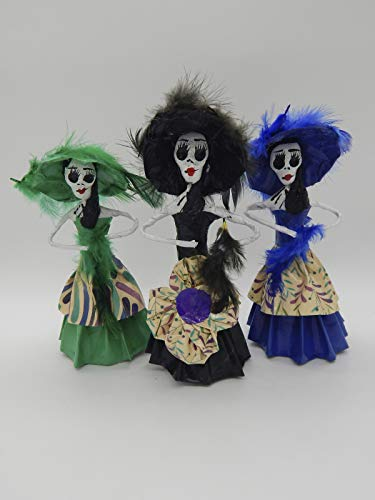 (COLOR Y TRADICIÓN Set of 3 Mexican Catrina Doll Paper Mache Figures Day of The Dead Handmade Art Skull #1515 )