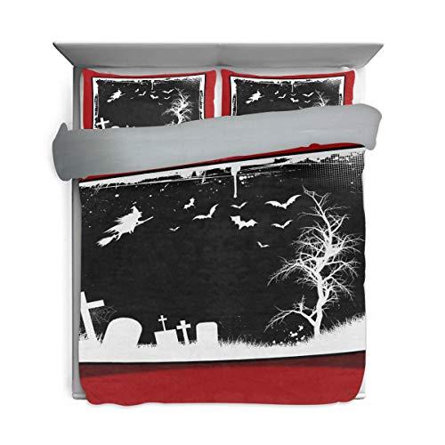 DEYYA Halloween Photo Negatives Pattern Printed Duvet Cover Bedding 3 Piece Set, Wash Cotton Back Surface Gray for Children's Gift (1 Duvet Cover, 2 Pillowcases)