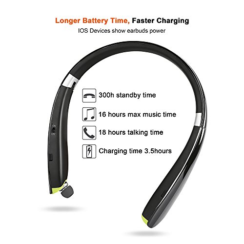 Foldable Bluetooth Headset,Besyoyo Wireless Bluetooth 4.1 Headphones with Retractable Earbuds,Handsfree Calling Bluetooth Sweat proof Sport Headphones Built in Mic for Bluetooth Enabled Devices - Image 3