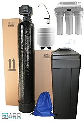 ABCwaters built Fleck 5600sxt 48,000 Black WATER SOFTENER + 5 Stage Reverse Osmosis Drinking Water Filter System 50 gpd - Complete Package