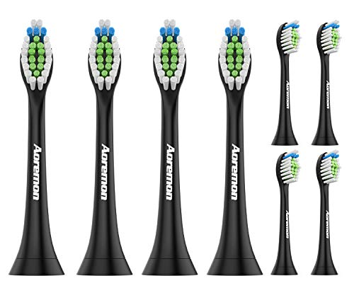 Aoremon Replacement Brush Heads Compatible with Philips Sonicare,Black 8 Pack - Fit Sonicare DiamondClean, HealthyWhite, FlexCare, EasyClean, Essence + Electric Toothbrush
