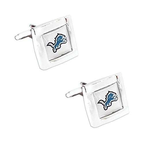 Detroit Lions Square Cufflinks with Square Shape Engraved Logo Design Gift Box Set