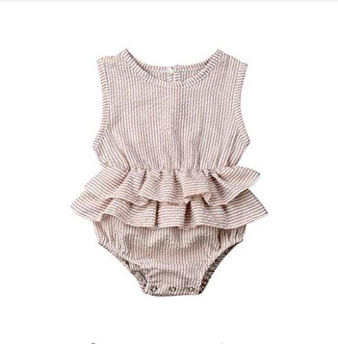 EFINNY Summer Baby Girl Bodysuit Sleeveless Stripe Pattern Newborn Cotton Rompers Jumpsuit Costumes