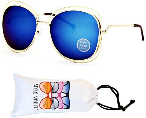 Blue Diamond Mirror Lens (V117-vp Tiny Lens Round/Diamond Double Frame Sunglasses (T2650H Gold-Blue Mirror, uv400))