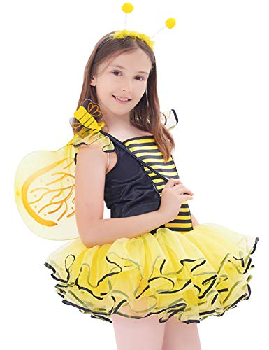 IKALI Bumble Bee Costume for Girls, Kids Honeybee Fancy Dress Up Outfit, Fairy Ballerina Tutu Skirt Set(4-6Y) ()