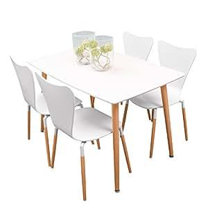 Homely - Conjunto de Mesa de Cocina Eclectic de 120x75 cm, con 4 sillas Tipo Jacobsen