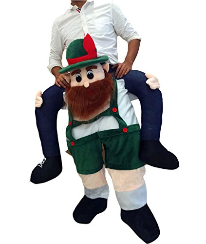 Piggyback Santa Costume Adult Carry On Me Costume Christmas Mascot Pants (Beer Man Green) -