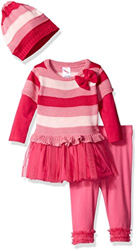 Youngland Baby Girls' 3 Piece Knit Tunic, Legging, and Knit Hat, Pink/Fuchsia, 12 Months -