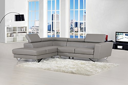 Container Furniture Direct Delia Collection Modern 2 Piece Bonded Leather L-Shaped Left Facing Sectional with Chaise, Gray (Leather Sofa Set Clearance)