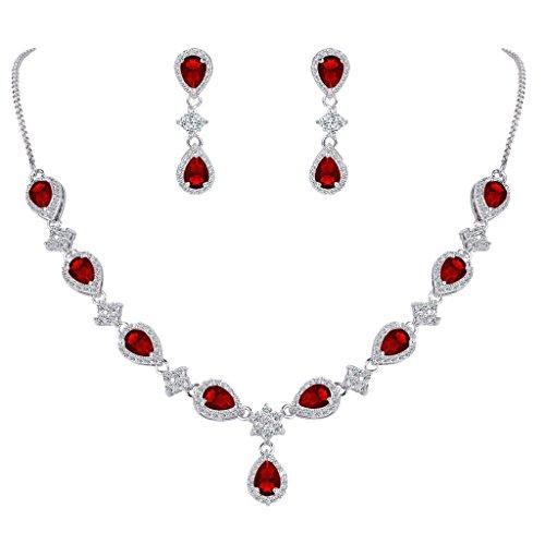(EleQueen Women's Silver-Tone Cubic Zirconia Teardrop Flower Bridal V-Necklace Set Dangle Earrings Ruby Color)