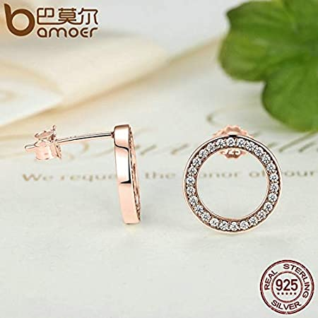 Oseni Genuine 925 Sterling Silver Forever Rose /& Clear CZ Round Circle Stud Earrings For Women Fashion Jewelry PAS484
