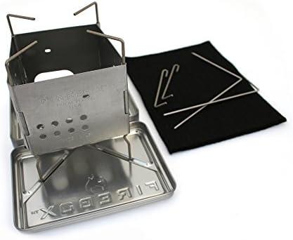 Firebox Estufa de Acero Inoxidable Nano + Kit X-Case - Multi Quema Combustible - Campamento/Bushcraft Plegable de Madera