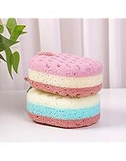 KECUCO 2 Pack Soft Bath Sponge for Women, Men, 100% Fiber Body Sponge, 3 Colors & Extra Large Size XL with Fine, Soft, Rich Foam (Children/Kids)
