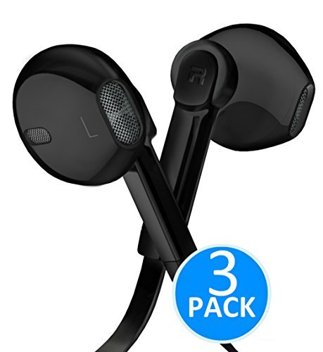 Headphones - In-Ear HD Stereo Noise Cancelling Sweatproof Sport Earphones Earbuds Flat Wired with Apple iOS Samsung and Android Compatible Microphone and Remote (Black 3-Pack) ()