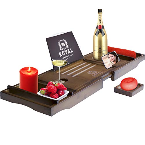 Royal Craft Wood Luxury Bamboo Bathtub Caddy Tray, Free Soap...