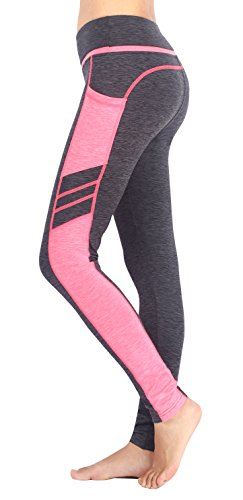 - Sugar Pocket Women's Workout Leggings Running Tights Yoga Pants M (Light Grey/Pink)