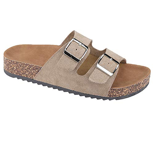 - Women's Casual Buckle Straps Flip Flop Footbed Sandals (Taupe-B) 09 US