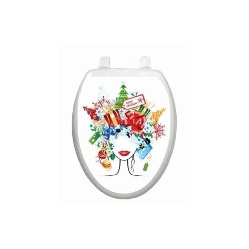 new Christmas Lady Toilet Tattoo TT-X612-O Elongated Winter Snow Holiday