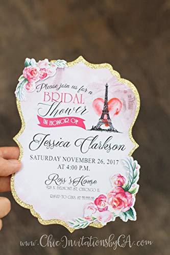 Bridal Shower Invitation, handmade invitation, paris invitation, paris theme handmade invitation, sweet sixteen handmade invitation, quinceanera -