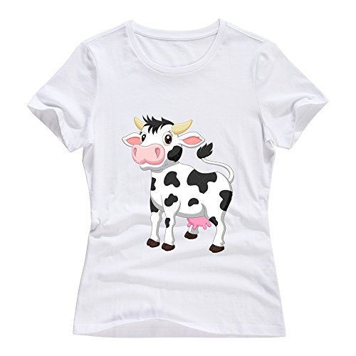 White VAVD Lady's Cow Short Sleeve T Shirts Size XL