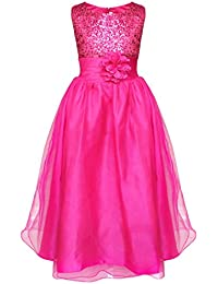 Kids Big Girls Sequined Wedding Bridesmaid Pageant Party Flower Girl Dress