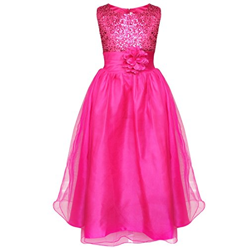YiZYiF Kids Girls Sequined Wedding Dress Bridesmaid Formal Christmas Party Gown Deep Pink 4-5 (Christmas Pageant Dresses)