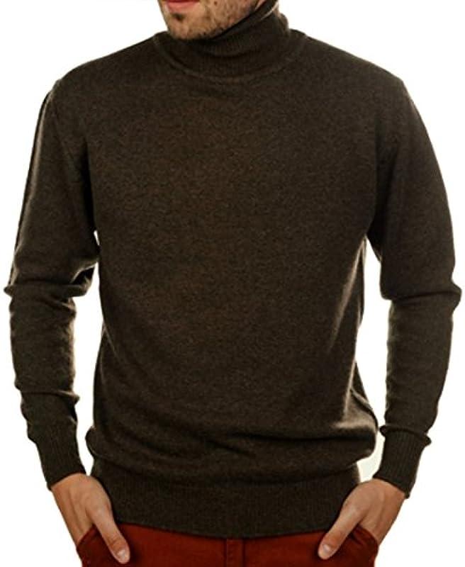 Ball diri 100% kaszmir kaszmir męski sweter z odwijanym kołnierzem 4-nitkowa brązowy L: Odzież