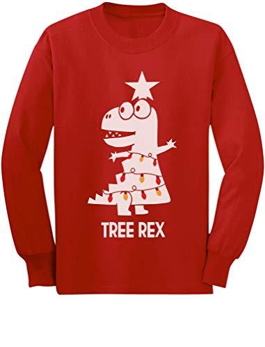Tree Rex Cute Funny T-Rex Dinosaur Christmas Toddler/Kids Long Sleeve T-Shirt 4T Red