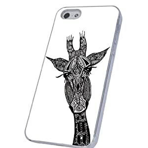 iphone 5 5S Fashion Trend Cute Aztec Tribal Ornate Cute Giraffe Design Case/Back cover Metal and Hard Plastic Case-Clear Frame