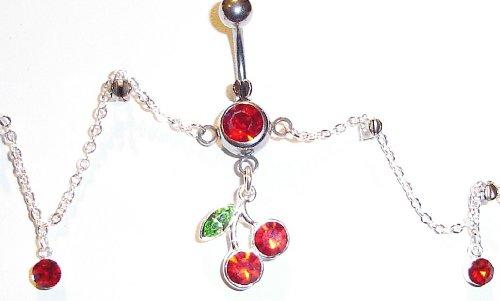 - Body Accentz Belly Button Ring Cherry Navel Body Jewelry Dangle waist Chain 14 Gauge