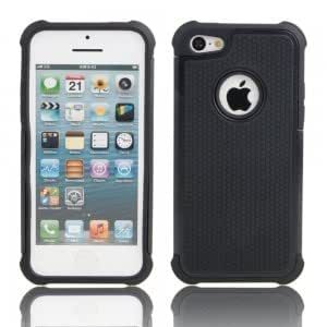 2-in-1 Robot Silicone Shockproof Protective PC Case for iPhone 5C Black