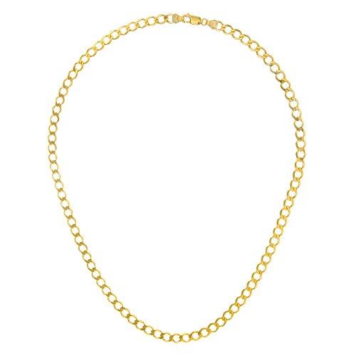 Revoni Bague en or jaune 9carats-14,5g-Collier Femme-Maille Gourmette, longueur 61cm/61cm, 5mm Largeur