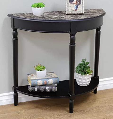 Narrow Console Table- Entry Tables for Hallways- Black Faux Marble Half Moon Shaped Top Wooden Turned Legs - Designed for Your Small Living Space ()